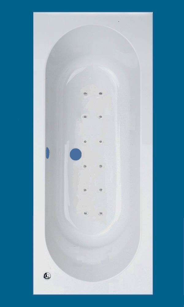 Trojan Cascade Double Ended White Acrylic 12 Jet Air Massage Spa ...